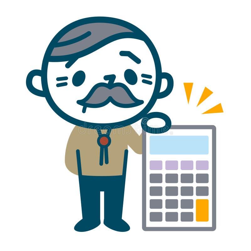 Senior male with calculator royalty free illustration
