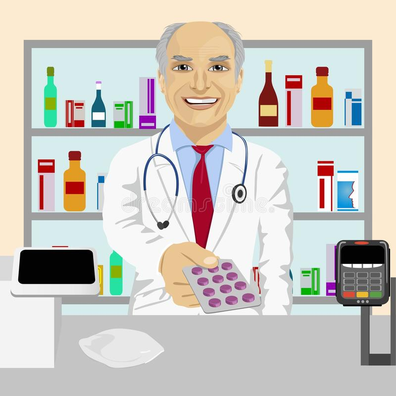 Senior male pharmacist giving pills in blister pack standing in a drugstore in front of medications on showcase royalty free illustration