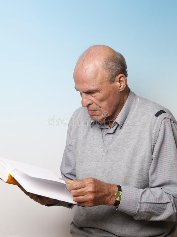 Download Senior male reading stock image. Image of gray, portrait - 11104033