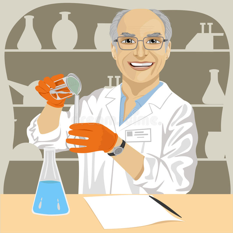 Senior male scientist mixing chemicals in laboratory royalty free illustration