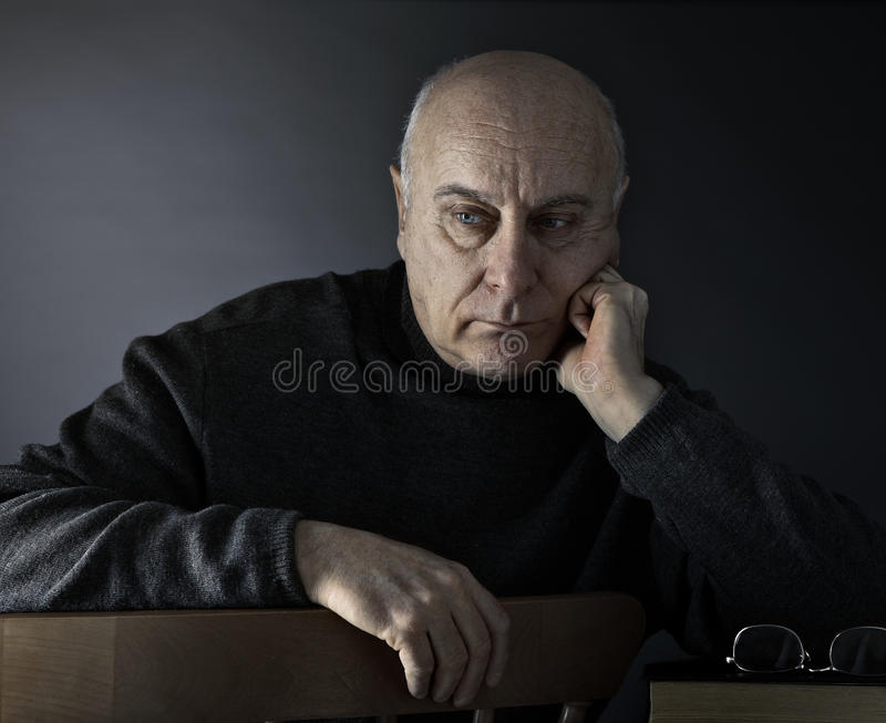 Download Senior Man Absorbed In Thought Stock Photo - Image: 12879214