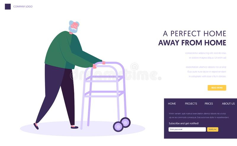 Senior Man, Aged Grandfather Moving with Help of Front-wheeled Walker. Walking Frame Metal Tool for Elderly People Going Ability. Website Landing Page, Web Page vector illustration