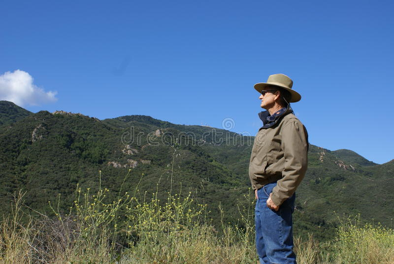 Download Senior Man Alone Looking At Mountains Stock Photography - Image: 14666212