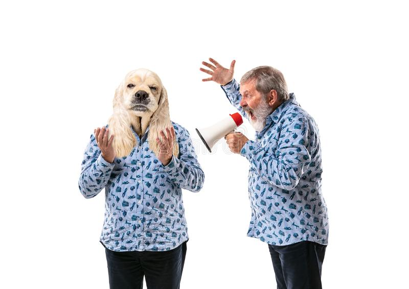 Senior Man Arguing With Himself As A Dog On White Studio Background. Stock  Photo - Image of people, isolated: 163834036