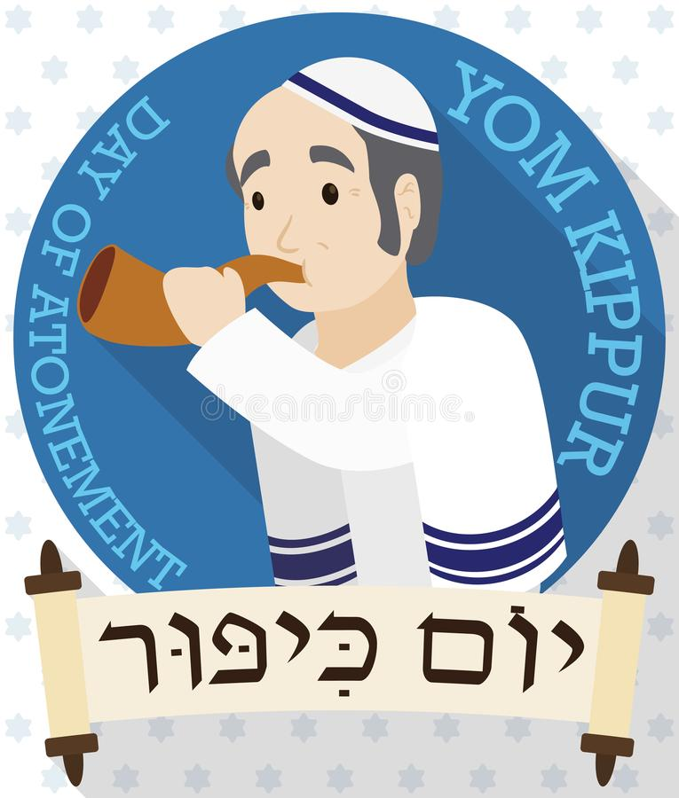 Senior Man Blowing a Shofar behind Scrolls for Yom Kippur, Vector Illustration. Poster in flat style and long shadow with a senior man wearing a tallit and stock illustration