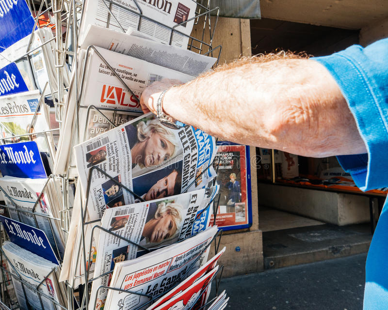 Senior man buying reporting handover ceremony presidential inauguration of Emmanuel Macron stock photography