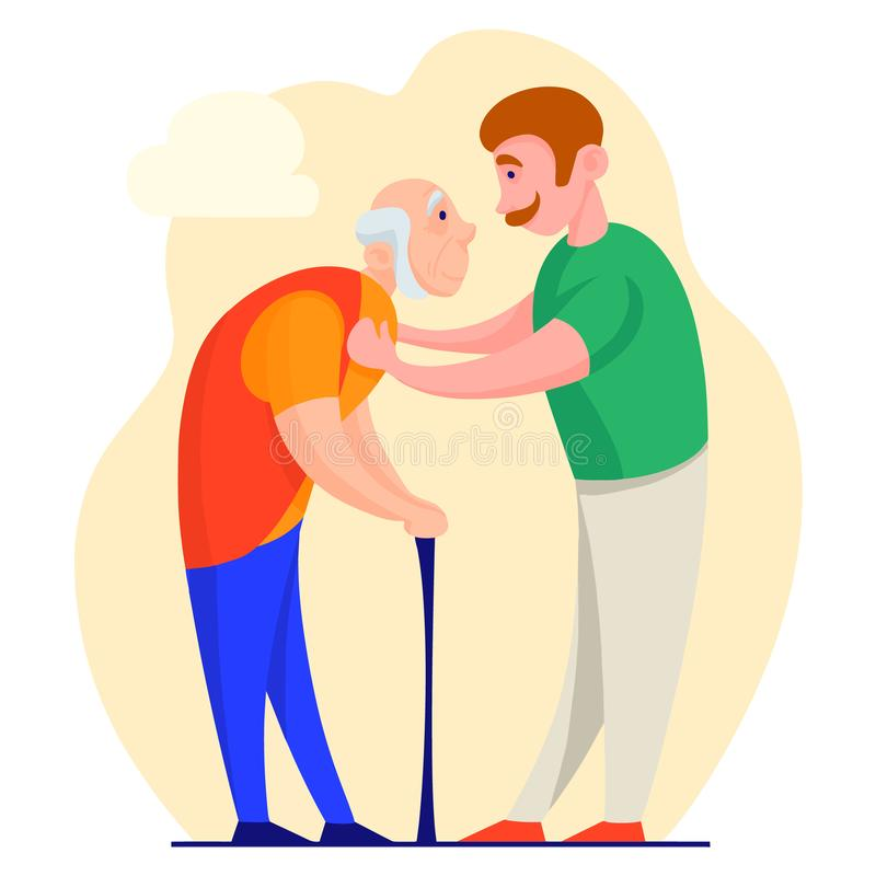 Senior man with a cane and a young man helping him. Vector illustration. Illustration in the style of a cartoon on the theme of helping the elderly. Young people royalty free illustration