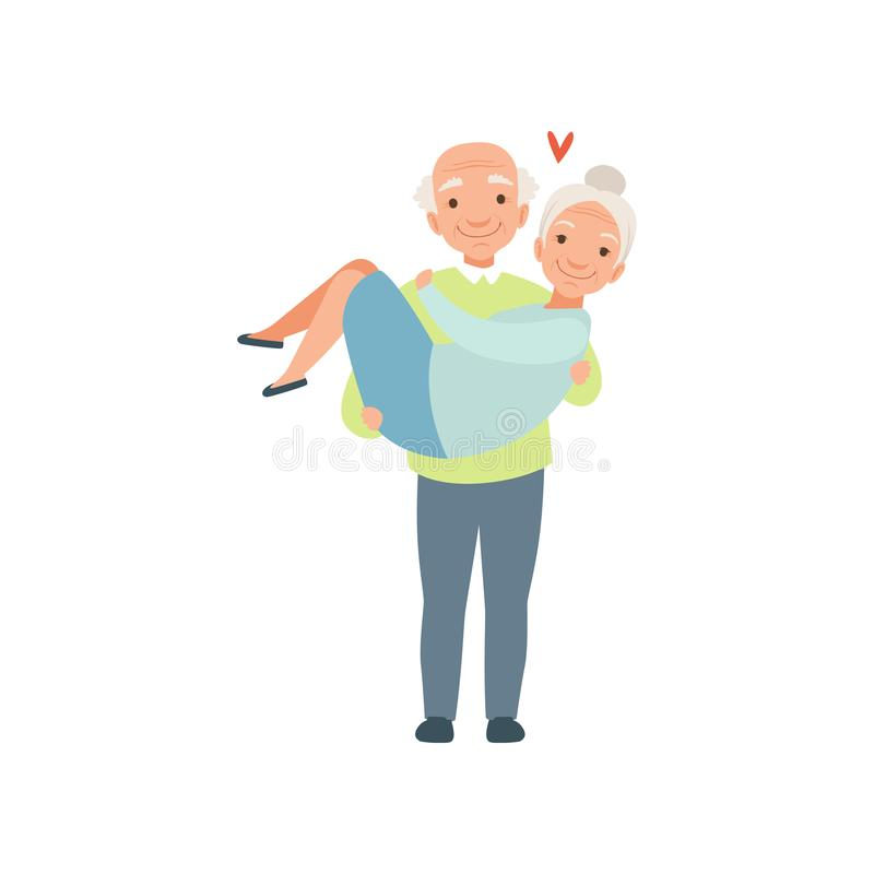 Senior man carring woman in his arms, elderly romantic couple in love vector Illustration on a white background. Senior man carring woman in his arms, elderly stock illustration
