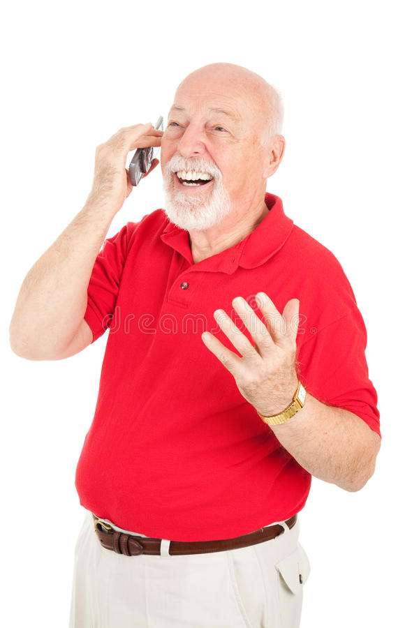 Senior Man In Cellphone Conversation Stock Image