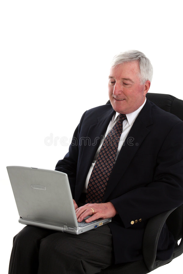 Download Senior Man With Computer stock image. Image of elderly - 7476143