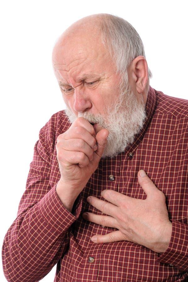 Senior man coughing, isolated on white royalty free stock photos