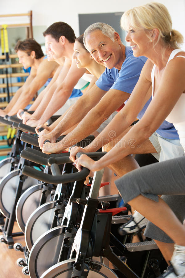 Free Senior Man Cycling In Spinning Class Stock Photos - 16303093
