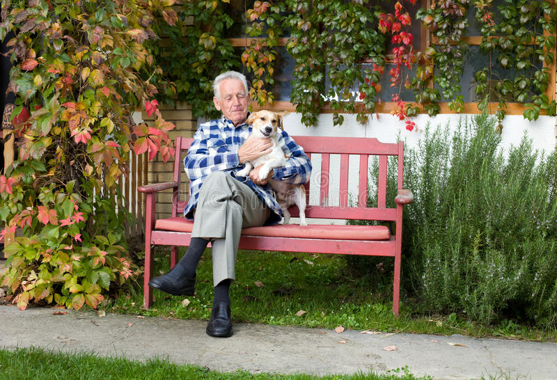 Senior man with dog stock images