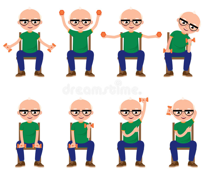 Senior man doing exercises with dumbbells sitting on a chair. Stock vector illustration royalty free illustration