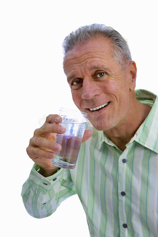 senior man drinking glass of water, cut out stock photo