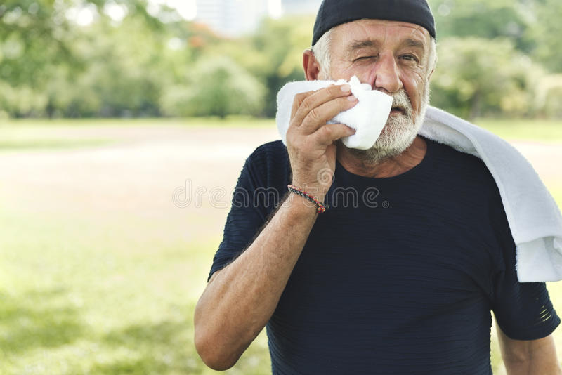 Senior Man Exercise Park Outdoors Concept stock image