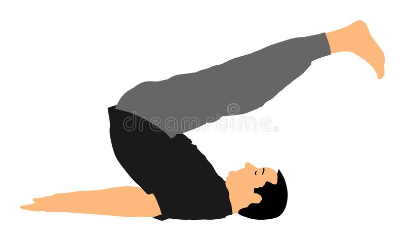 Senior man exercises yoga. Yoga pose . Active boy in gym stretching and worming up. Health care activity. Senior man exercises yoga. Yoga pose silhouette royalty free illustration