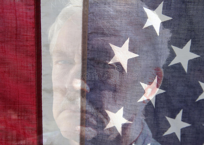 Senior man face with USA flag royalty free stock images