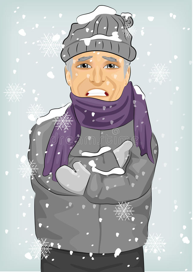 Senior man freezing in winter cold wearing woolen hat and jacket with scarf. Senior man freezing in the winter cold wearing woolen hat and jacket with scarf royalty free illustration