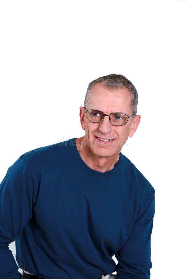Senior man in glasses stock photo