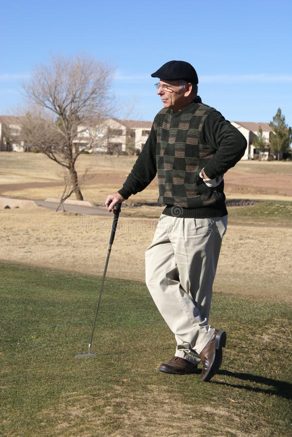 Download Senior Man Golfing stock image. Image of course, white - 12422077