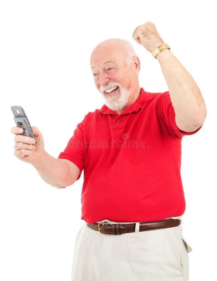 Senior Man - Good News by Text royalty free stock photos