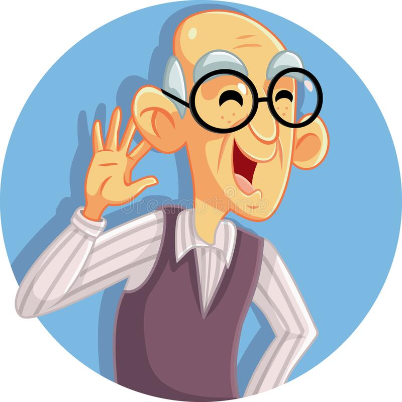 Senior Man with Hand on Ear Hearing Perfectly. Cartoon illustration of a senior adult listening to noise vector illustration