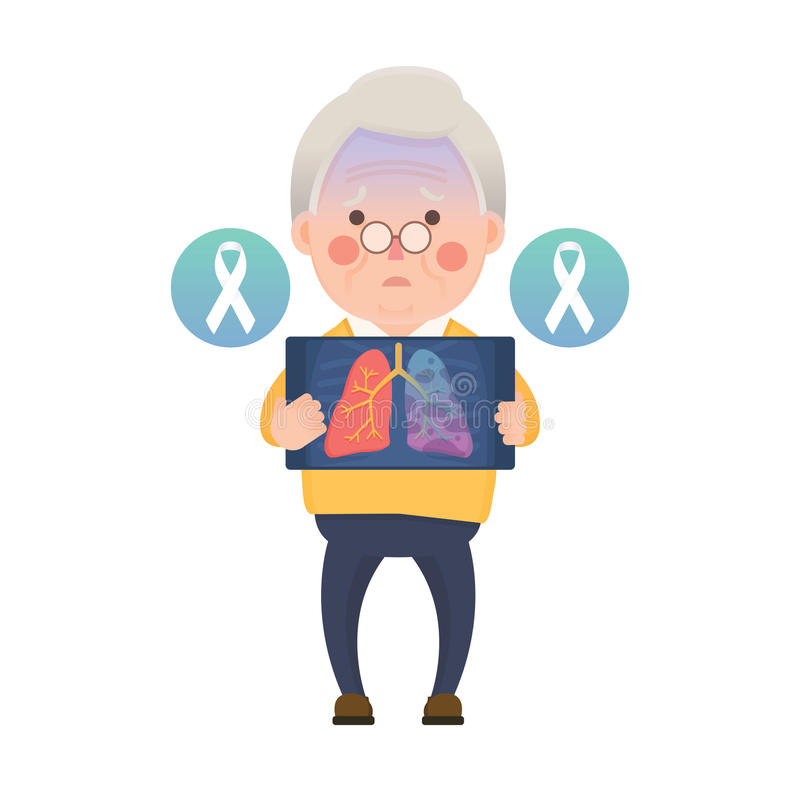 Senior Man have Lung Cancer Ribbon royalty free illustration