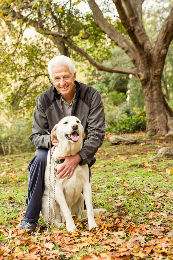 Senior man with his dog in park stock images