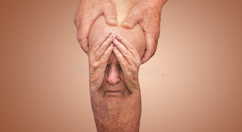 Senior man holding the knee with pain. Collage. Concept of abstract pain and despair. The elderly pensioner and problems. Old age and illnesses. 86-year-old royalty free stock images