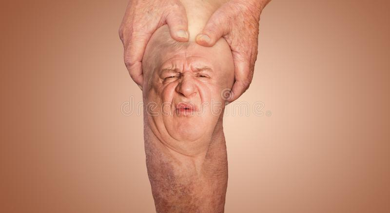Senior man holding the knee with pain. Collage. Concept of abstract pain and despair. The elderly pensioner and problems. Old age and illnesses. 86-year-old stock photos