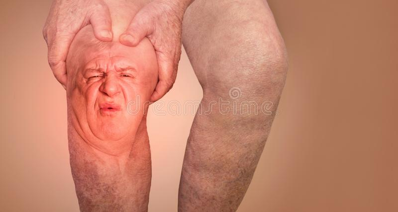Senior man holding the knee with pain. Collage. Concept of abstract pain and despair. The elderly pensioner and problems. Old age and illnesses. 86-year-old royalty free stock image