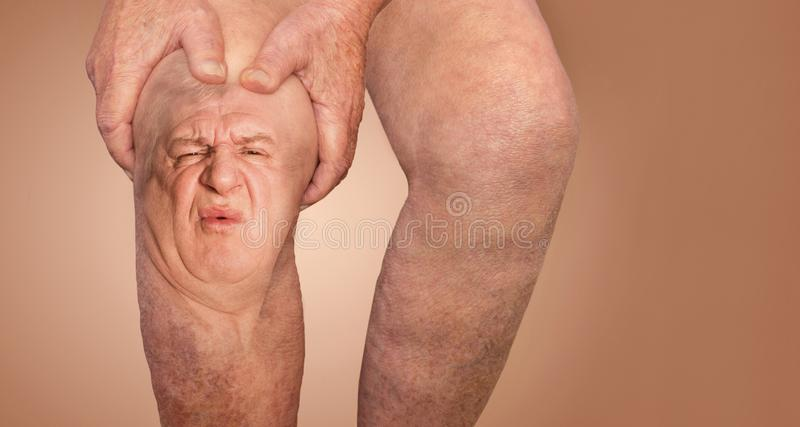 Senior man holding the knee with pain. Collage. Concept of abstract pain and despair. The elderly pensioner and problems. Old age and illnesses. 86-year-old royalty free stock photos
