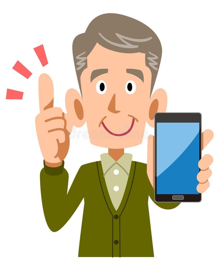 Senior man holding smartphone in hand to explain key points. The image of a Senior man holding smartphone in hand to explain key points royalty free illustration
