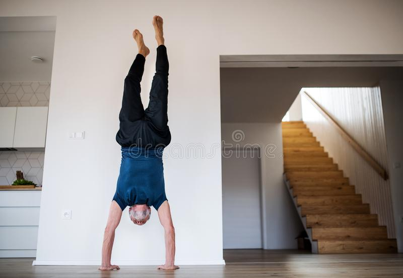 A senior man indoors at home, doing handstand exercise indoors. stock image