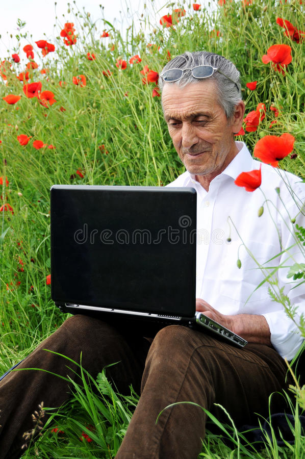 Download Senior man and laptop stock image. Image of learn, farm - 14621397