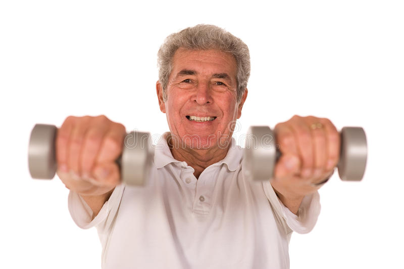 Download Senior man lifting weights stock image. Image of body - 12033833