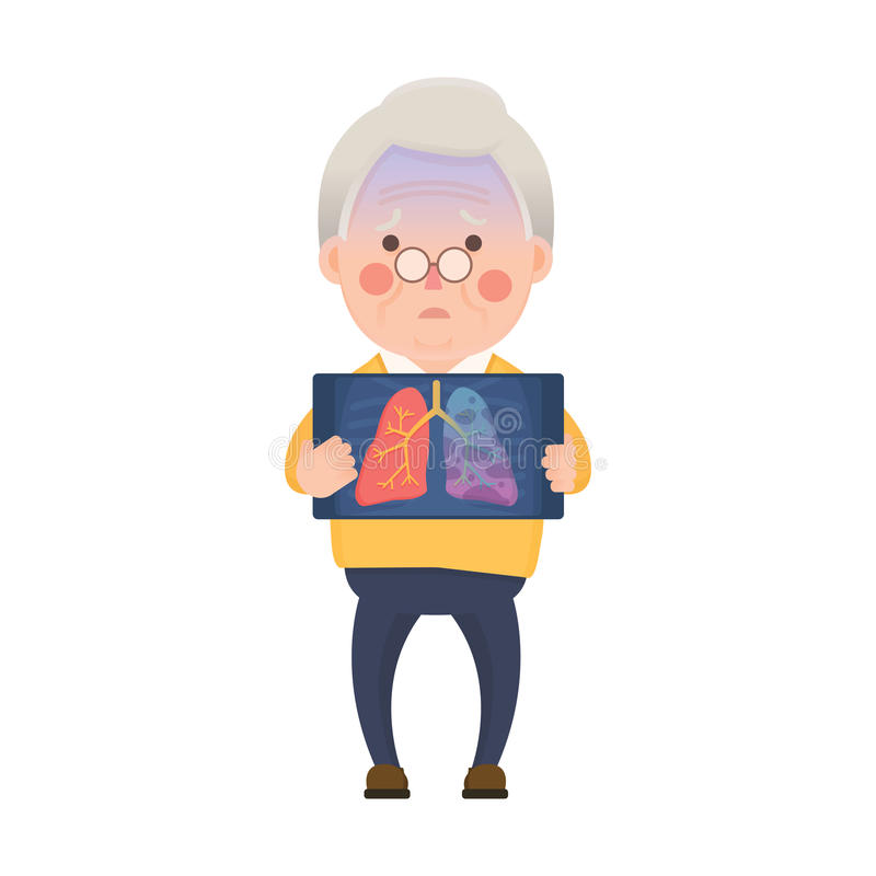 Senior Man with Lung Cancer Problem vector illustration