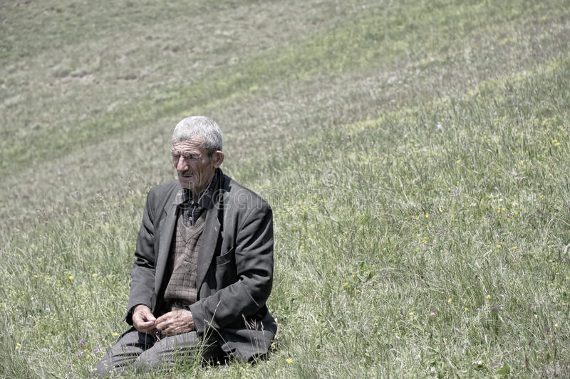 Senior man in meadow royalty free stock images