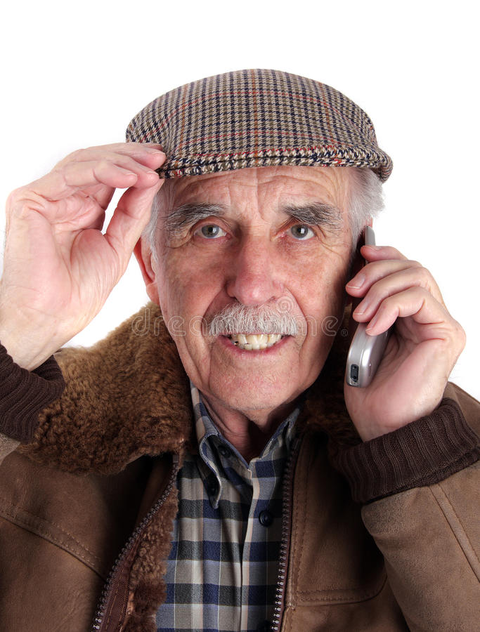 Senior Man With Mobile Phone Stock Photography