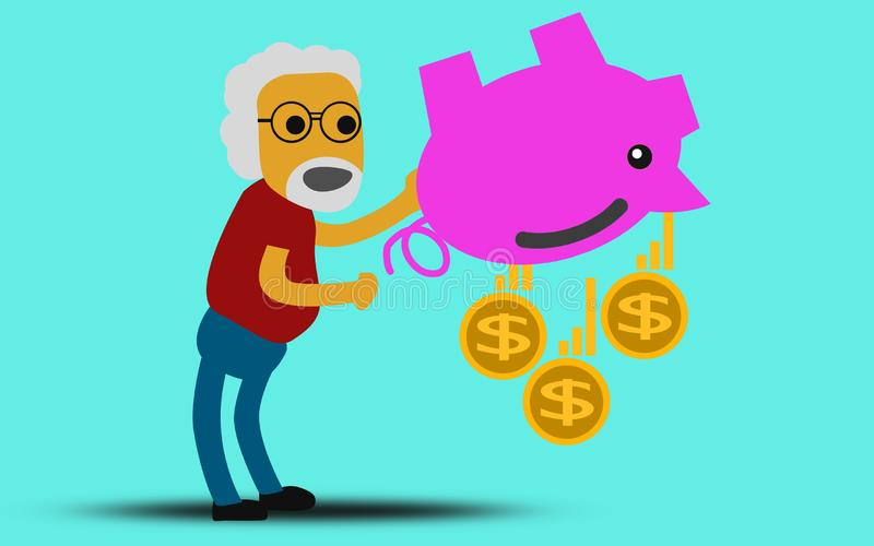 Senior Man with piggy bank royalty free stock photography