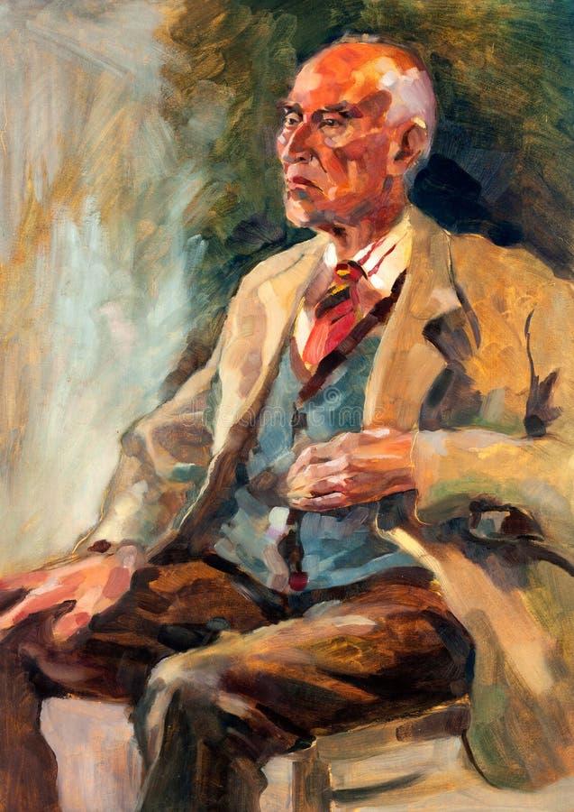 Senior man portrait vector illustration