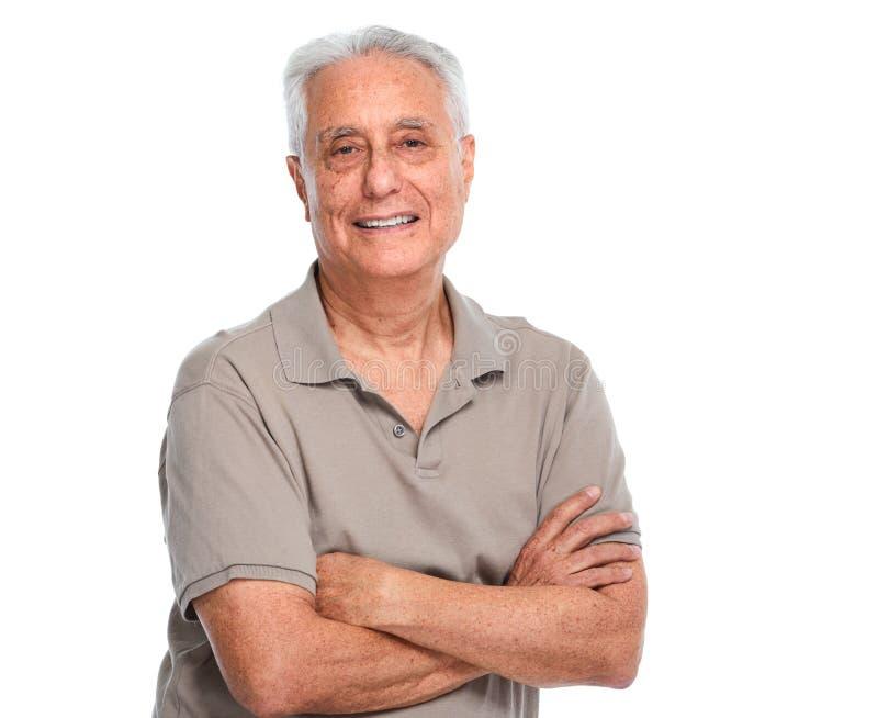 Senior man portrait. Smiling elderly man portrait isolated over white background stock image