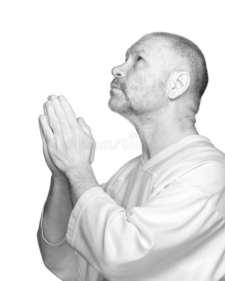 Senior Man Praying royalty free stock image