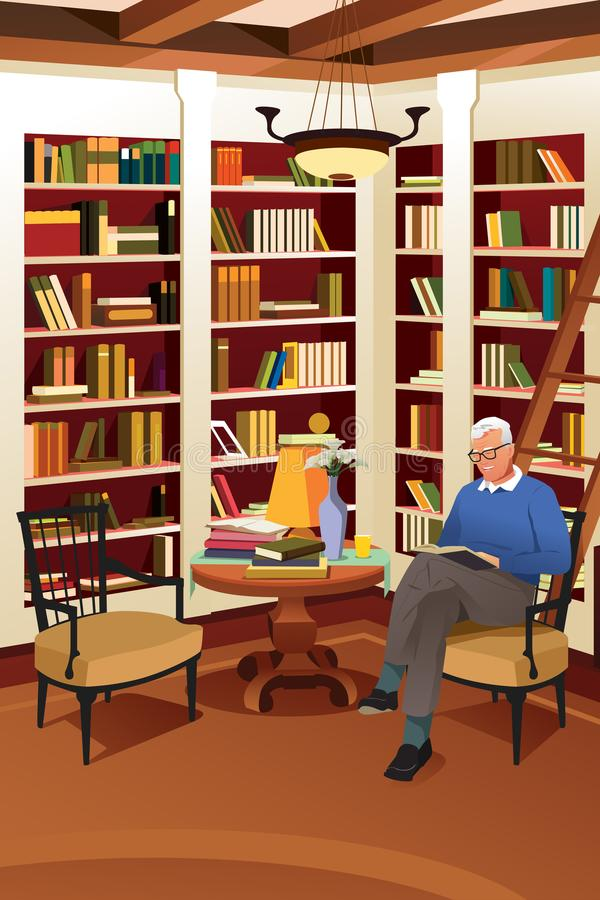 Senior Man Reading a Book in the Library vector illustration