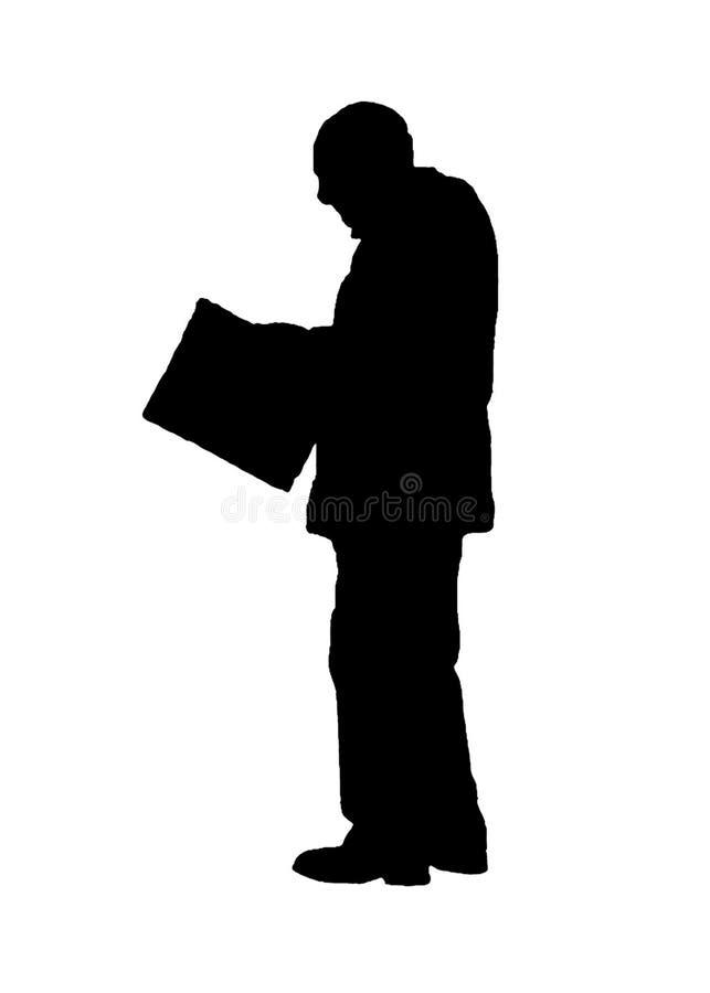Graphic Silhouette Senior Man Reading Newspaper. Senior man reading newspaper graphic silhouette illustration isolated on white background royalty free illustration