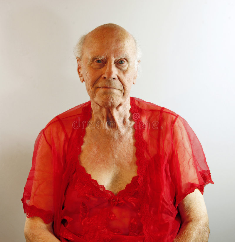 Download Senior Man In Red Lingerie. Stock Image - Image of grandfather, mans: 9178411