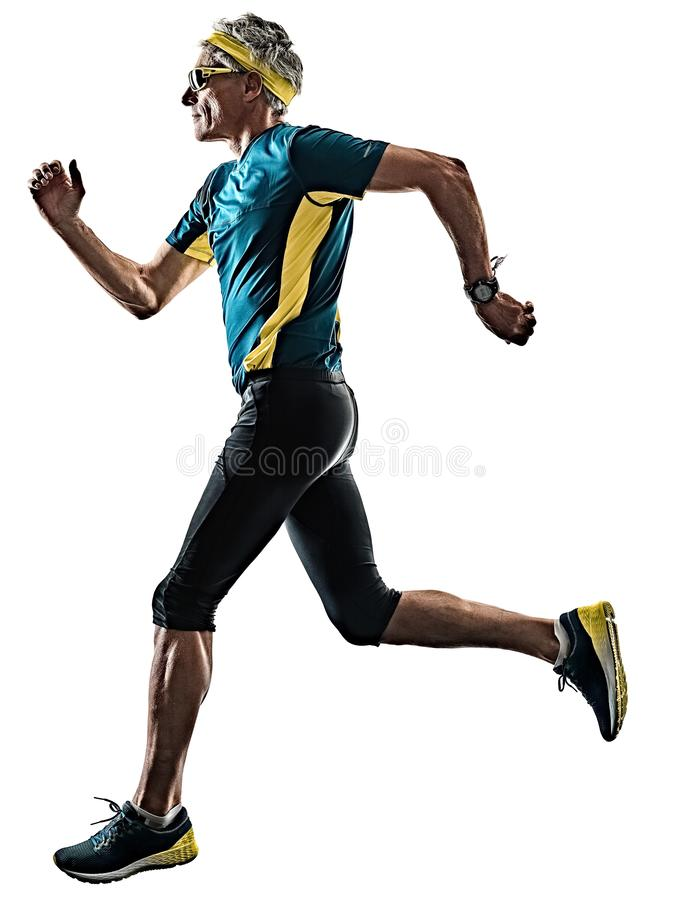 Senior man running runner jogger jogging silhouette isolated wh royalty free stock photo