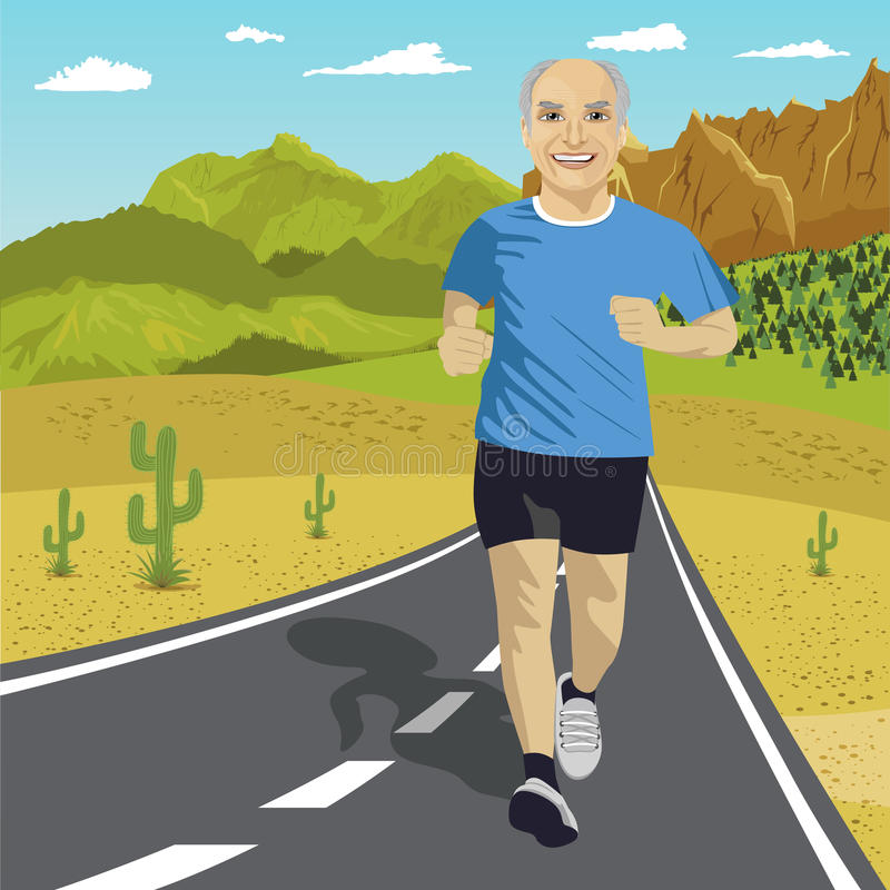 Senior man running or sprinting on road in mountains. Fit mature male fitness runner during outdoor workout vector illustration