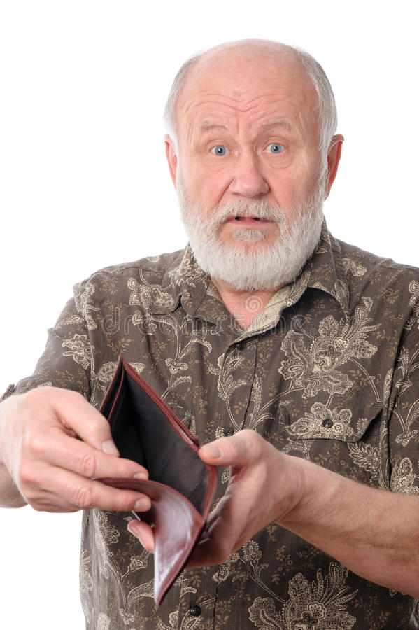 Senior man shows empty purse, isolated on white royalty free stock image